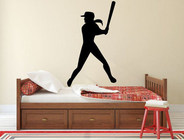 "Softball Player Wall Decal - 45"" x 26"" Softball Player Silhouette Vinyl Decal - Softball Player 8"