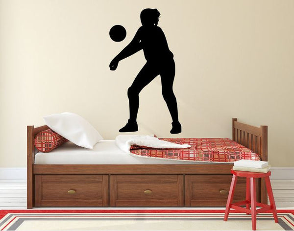 "Volleyball Player Wall Decal - 42"" x 24"" Volleyball Player Silhouette Vinyl Decal - Volleyball Player 4"