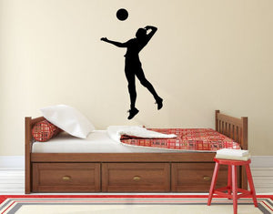 "Volleyball Player Wall Decal - 40"" x 23"" Volleyball Player Silhouette Vinyl Decal - Volleyball Player 10"
