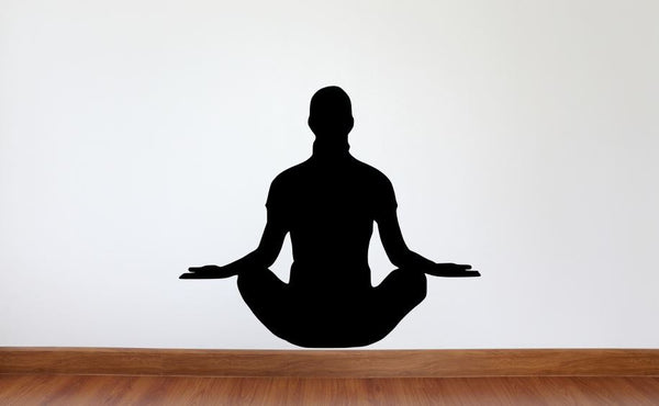 "Yoga Wall Decal - 27"" x 31"" Yoga Lotus Pose Silhouette Vinyl Decal - Yoga 5"