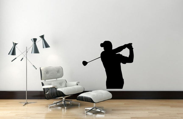 "Golf Player Wall Decal - 27"" x 29"" Golf Player Silhouette Vinyl Decal - Golf Player 2"