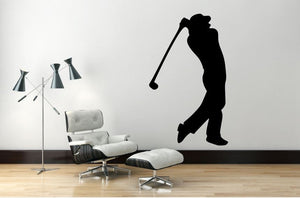 "Golf Player Wall Decal - 45"" x 27"" Golf Player Silhouette Vinyl Decal - Golf Player 4"