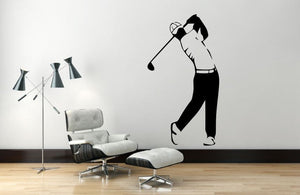 "Golf Player Wall Decal - 45"" x 25"" Golf Player Silhouette Vinyl Decal - Golf Player 5"