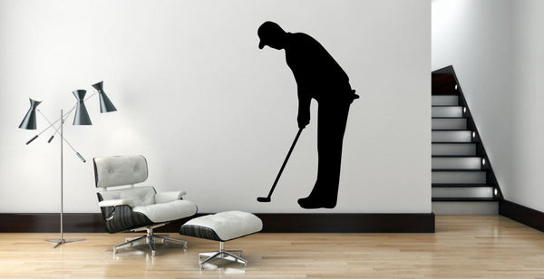 "Golf Player Wall Decal - 45"" x 25"" Golf Player Silhouette Vinyl Decal - Golf Player 12"