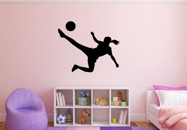"Girl Soccer Player Wall Decal - 27"" x 33"" Girl Soccer Player Silhouette Vinyl Decal - Girl Soccer Player 2"