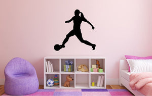 "Girl Soccer Player Wall Decal - 27"" x 27"" Girl Soccer Player Silhouette Vinyl Decal - Girl Soccer Player 10"