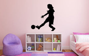 "Girl Soccer Player Wall Decal - 30"" x 27"" Girl Soccer Player Silhouette Vinyl Decal - Girl Soccer Player 12"