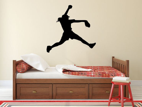 "Softball Player Wall Decal - 27"" x 28"" Softball Player Silhouette Vinyl Decal - Softball Player 2"