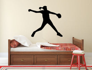 "Softball Player Wall Decal - 27"" x 30"" Softball Player Silhouette Vinyl Decal - Softball Player 3"