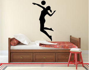 "Volleyball Player Wall Decal - 45"" x 26"" Volleyball Player Silhouette Vinyl Decal - Volleyball Player 1"