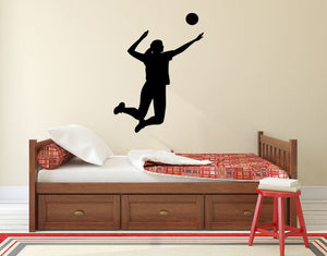 "Volleyball Player Wall Decal - 36"" x 27"" Volleyball Player Silhouette Vinyl Decal - Volleyball Player 5"