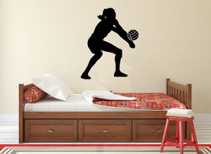 "Volleyball Player Wall Decal - 33"" x 27"" Volleyball Player Silhouette Vinyl Decal - Volleyball Player 11"
