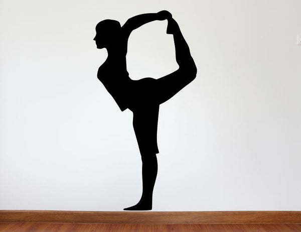 "Yoga Wall Decal - 45"" x 23"" Yoga Pose Silhouette Vinyl Decal - Yoga 2"