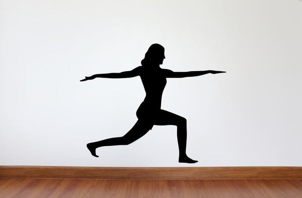 "Yoga Wall Decal - 27"" x 33"" Yoga Warrior Pose Silhouette Vinyl Decal - Yoga 11"