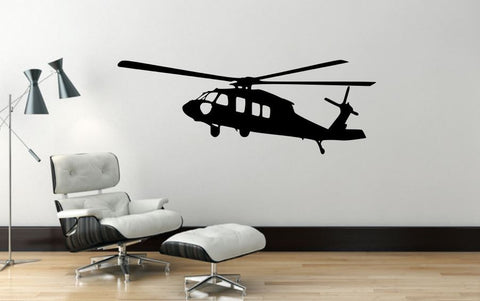 "Helicopter Wall Decal - 16"" x 45"" Blackhawk Helicopter Wall Decal - H3"
