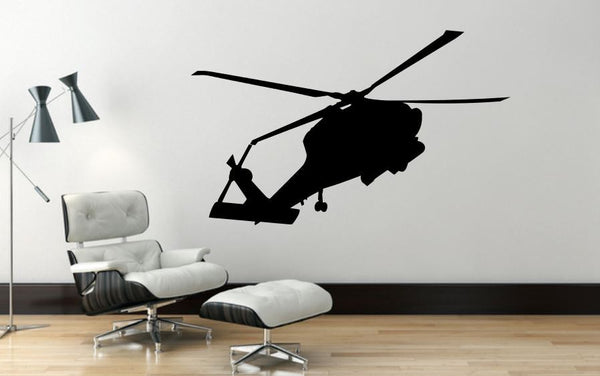 "Helicopter Wall Decal - 27"" x 44"" Blackhawk Helicopter Wall Decal - H5"