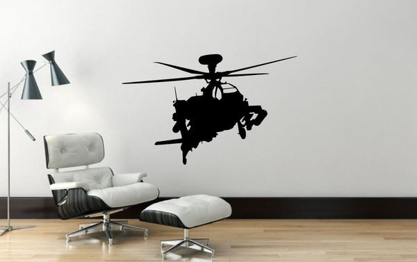 "Helicopter Wall Decal - 22"" x 35"" Apache Helicopter Wall Decal - H8"