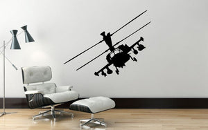 "Helicopter Wall Decal - 27"" x 35"" Apache Helicopter Wall Decal - H10"