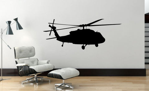 "Helicopter Wall Decal - 17"" x 45"" Blackhawk Helicopter Wall Decal - H1"
