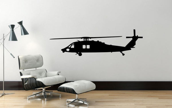 "Helicopter Wall Decal - 13"" x 45"" Blackhawk Helicopter Wall Decal - H2"