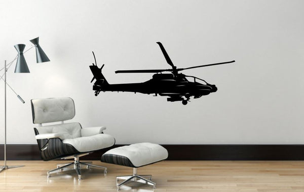 "Helicopter Wall Decal - 17"" x 40"" Apache Helicopter Wall Decal - H9"