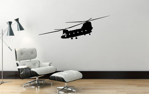 "Helicopter Wall Decal - 13"" x 40"" Chinook Helicopter Wall Decal - H11"