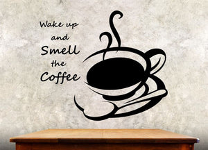 "Kitchen Wall Decal - Wake Up And Smell The Coffee - 27h"" x 32w"" Coffee Decal"