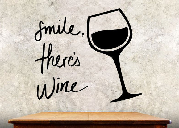 Kitchen Wall Decal - Smile There's Wine - 27h