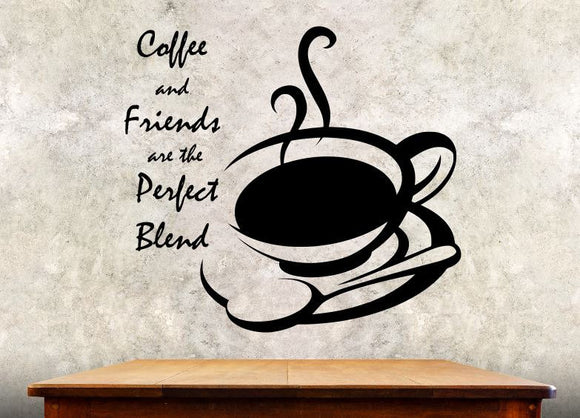 Kitchen Wall Decal - Coffee And Friends Are The Perfect Blend - 27h