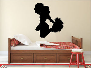 "Cheerleader Wall Decal - 33"" x 27"" Cheerleader Silhouette Vinyl Decal - Cheerleader 12"