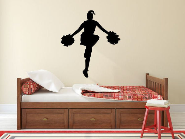"Cheerleader Wall Decal - 30"" x 27"" Cheerleader Silhouette Vinyl Decal - Cheerleader 13"