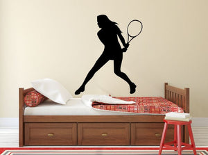 "Tennis Player Wall Decal - 32"" x 27"" Female Tennis Silhouette Vinyl Decal - Female Tennis Player 1"