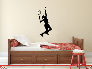 "Tennis Player Wall Decal - 27"" x 12"" Female Tennis Silhouette Vinyl Decal - Female Tennis Player 5"