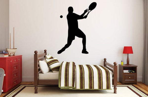 "Tennis Player Wall Decal - 36"" x 27"" Male Tennis Silhouette Vinyl Decal - Male Tennis Player 1"