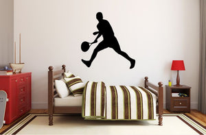 "Tennis Player Wall Decal - 28"" x 27"" Male Tennis Silhouette Vinyl Decal - Male Tennis Player 7"