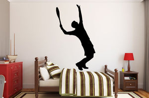 "Tennis Player Wall Decal - 45"" x 27"" Male Tennis Silhouette Vinyl Decal - Male Tennis Player 11"