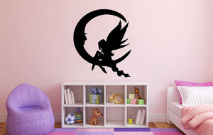 "Fairy Wall Decal - 32"" x 27"" Fairy Silhouette Vinyl Decal - Fairy 11"