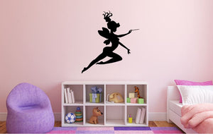 "Fairy Wall Decal - 29"" x 27"" Fairy Silhouette Vinyl Decal - Fairy 16"