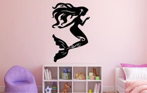 "Mermaid Wall Decal - 40"" x 25"" Mermaid Silhouette Vinyl Decal - Mermaid 4"