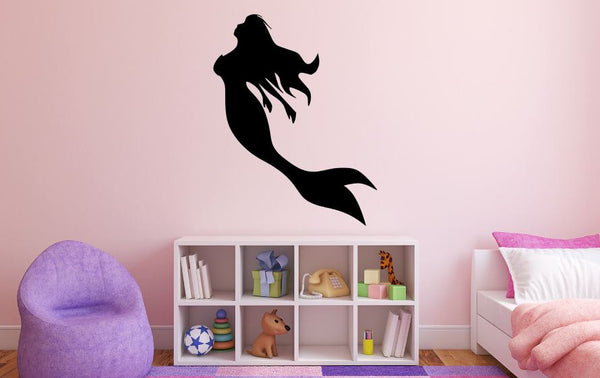 "Mermaid Wall Decal - 35"" x 27"" Mermaid Silhouette Vinyl Decal - Mermaid 5"