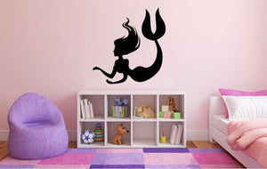 "Mermaid Wall Decal - 28"" x 27"" Mermaid Silhouette Vinyl Decal - Mermaid 7"