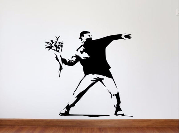 Banksy Wall Decal, Molotov Guy Inspired Removable Wall Decal