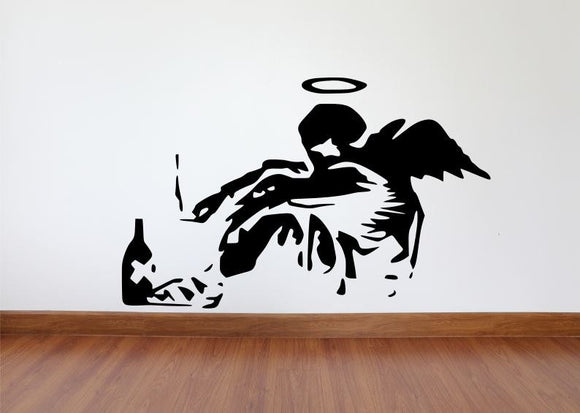 Banksy Wall Decal, Fallen Angel Inspired Removable Wall Decal