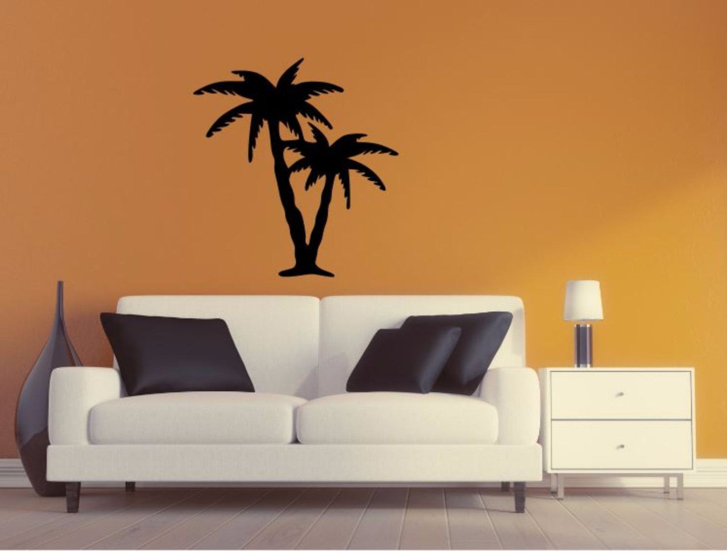 Palm Tree Wall Decal - Palm Tree Silhouette Vinyl Wall Sticker ... for Wall Sticker Tree Silhouette  45gtk