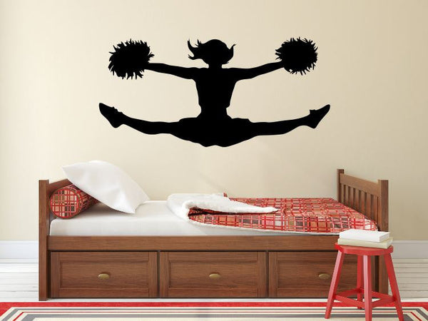 "Cheerleader Wall Decal - 22"" x 45"" Cheerleader Silhouette Vinyl Decal - Cheerleader 1"