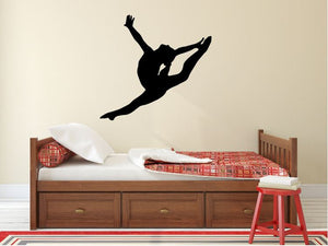 "Gymnastics Wall Decal - 27"" x 28"" Gymnast Silhouette Vinyl Decal - Gymnastics 1"