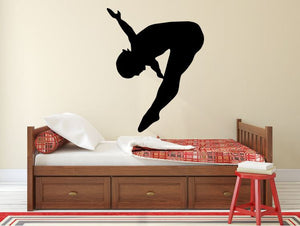 "Gymnastics Wall Decal - 35"" x 27"" Gymnast Silhouette Vinyl Decal - Gymnastics 13"