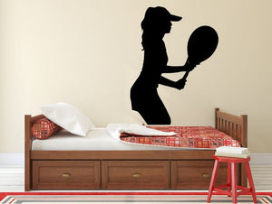 "Tennis Player Wall Decal - 36"" x 27"" Female Tennis Silhouette Vinyl Decal - Female Tennis Player 8"
