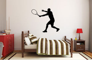 "Tennis Player Wall Decal - 27"" x 31"" Male Tennis Silhouette Vinyl Decal - Male Tennis Player 3"