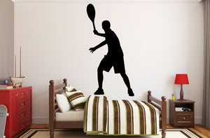 "Tennis Player Wall Decal - 45"" x 23"" Male Tennis Silhouette Vinyl Decal - Male Tennis Player 4"
